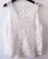 Sexy Semi Sheer Sleeveless Tank Embroidery Floral Lace Crochet T-Shirt Tops Vest